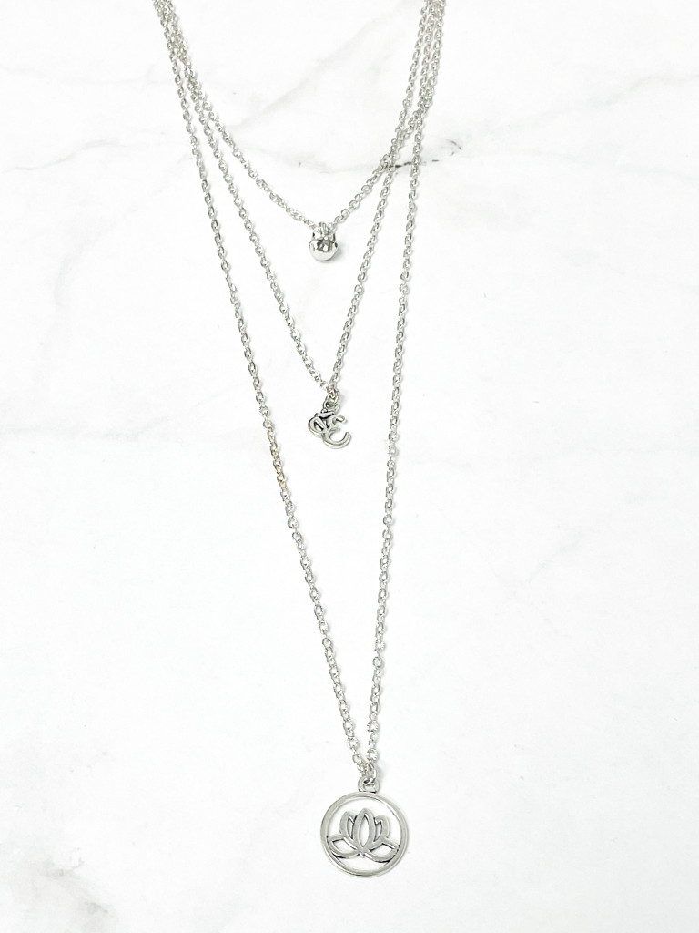 One of a Kind 3 Layer Lotus Flower and Ohm Necklace