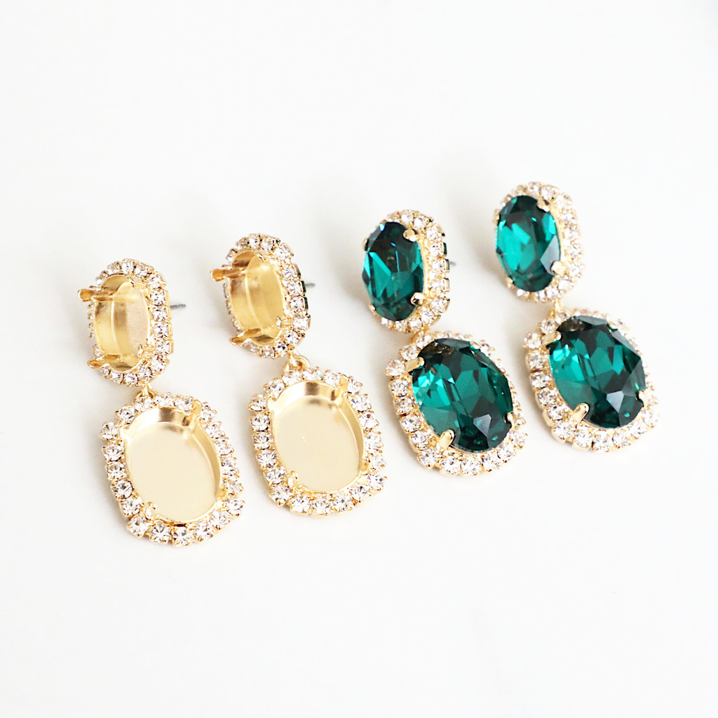 14mm x 10mm & 18mm x 13mm Oval | Crystal Halo Stud Drop Earrings | One Pair