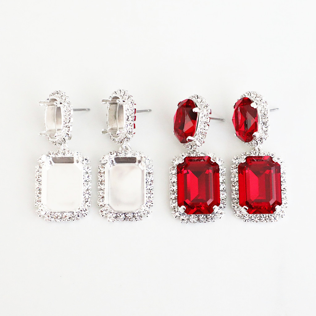 14mm x 10mm Oval & 18mm x 13mm Octagon   Crystal Halo Stud Drop Earrings   One Pair