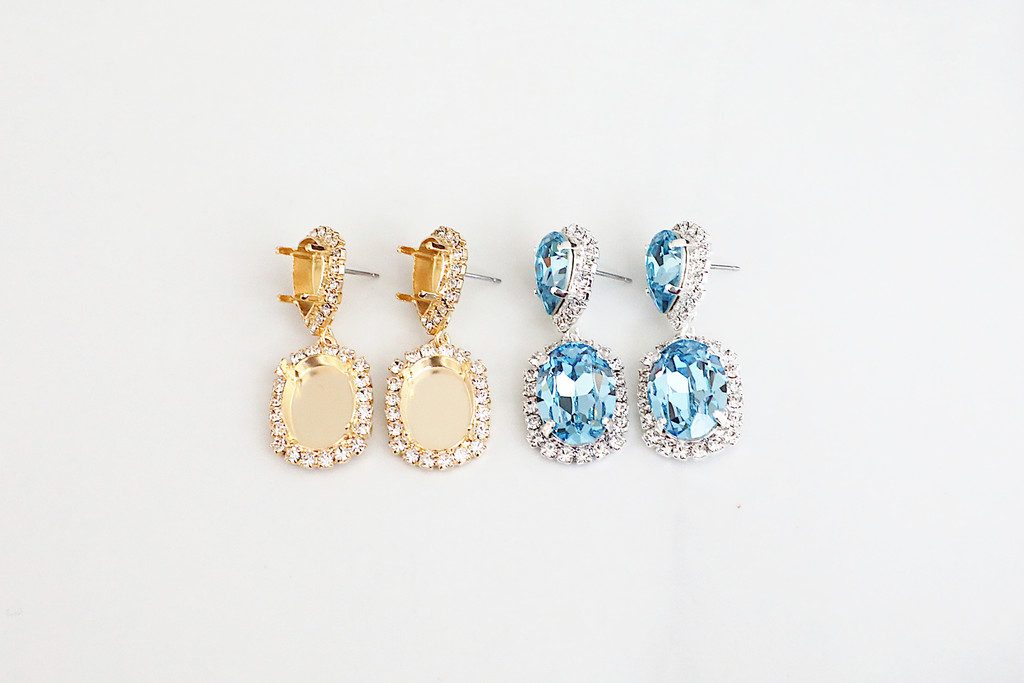 14mm x 10mm Pear & 18mm x 13mm Oval | Crystal Halo Stud Drop Earrings | One Pair