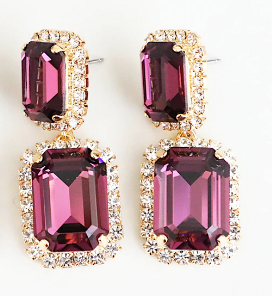 Finished Amethyst 14mm x 10mm & 18mm x 13mm Octagon   Crystal Halo Stud Drop Earrings   One Pair