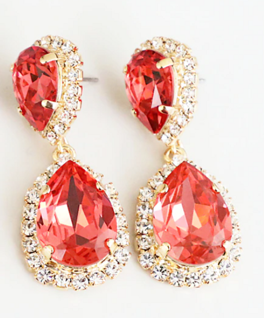 Finished Padparadscha 14mm x 10mm & 18mm x 13mm Pear | Crystal Halo Stud Drop Earrings | One Pair