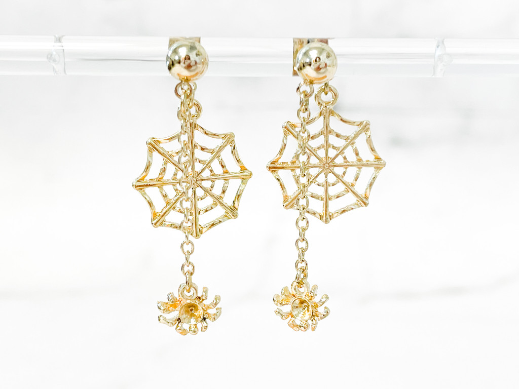 Gold Web with Dangling Spider Earrings