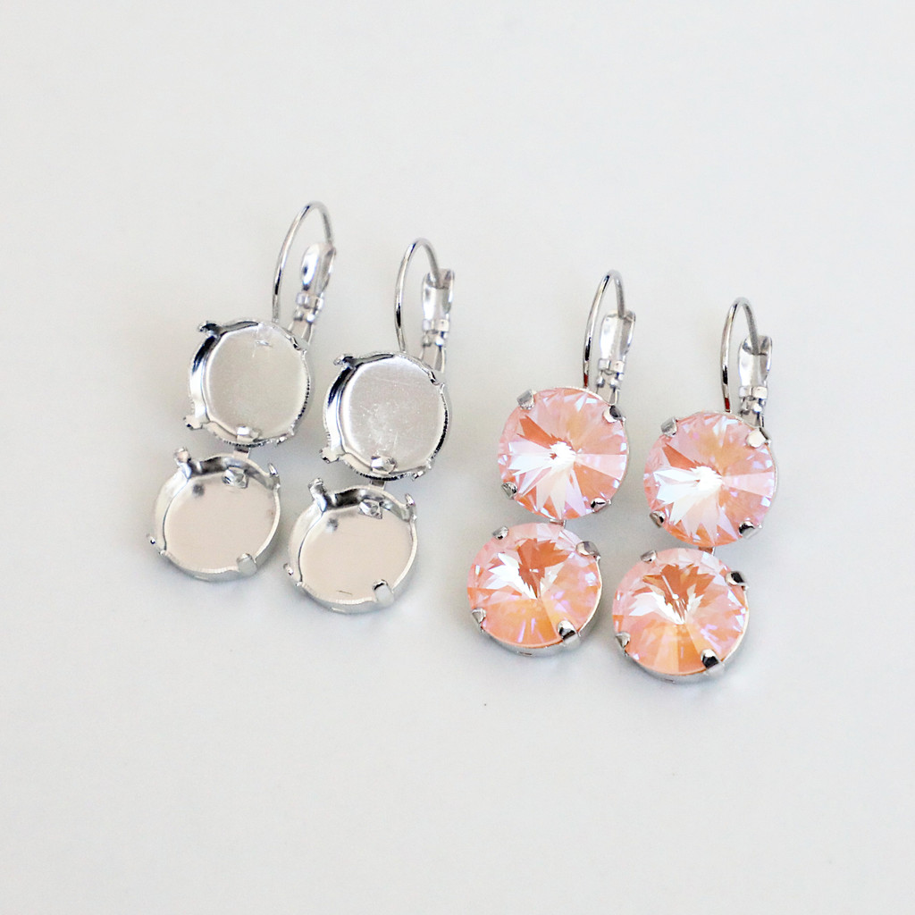 12mm Round   Two Setting Drop Earrings   One Pair