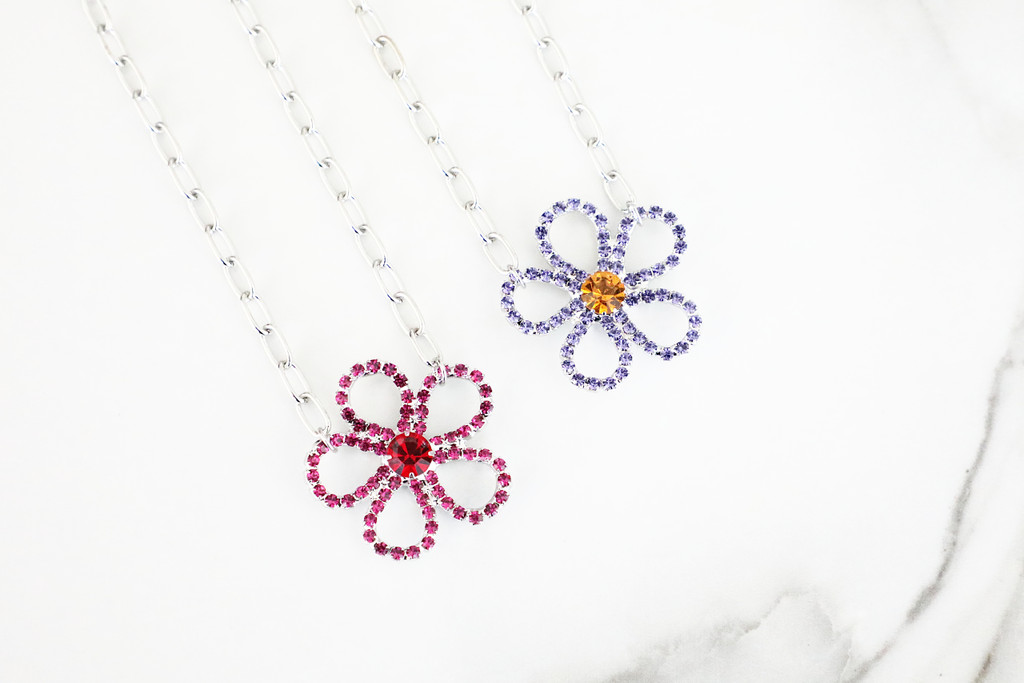 Flower Crystal Rhinestone Necklaces | Two Colors Available | One Piece