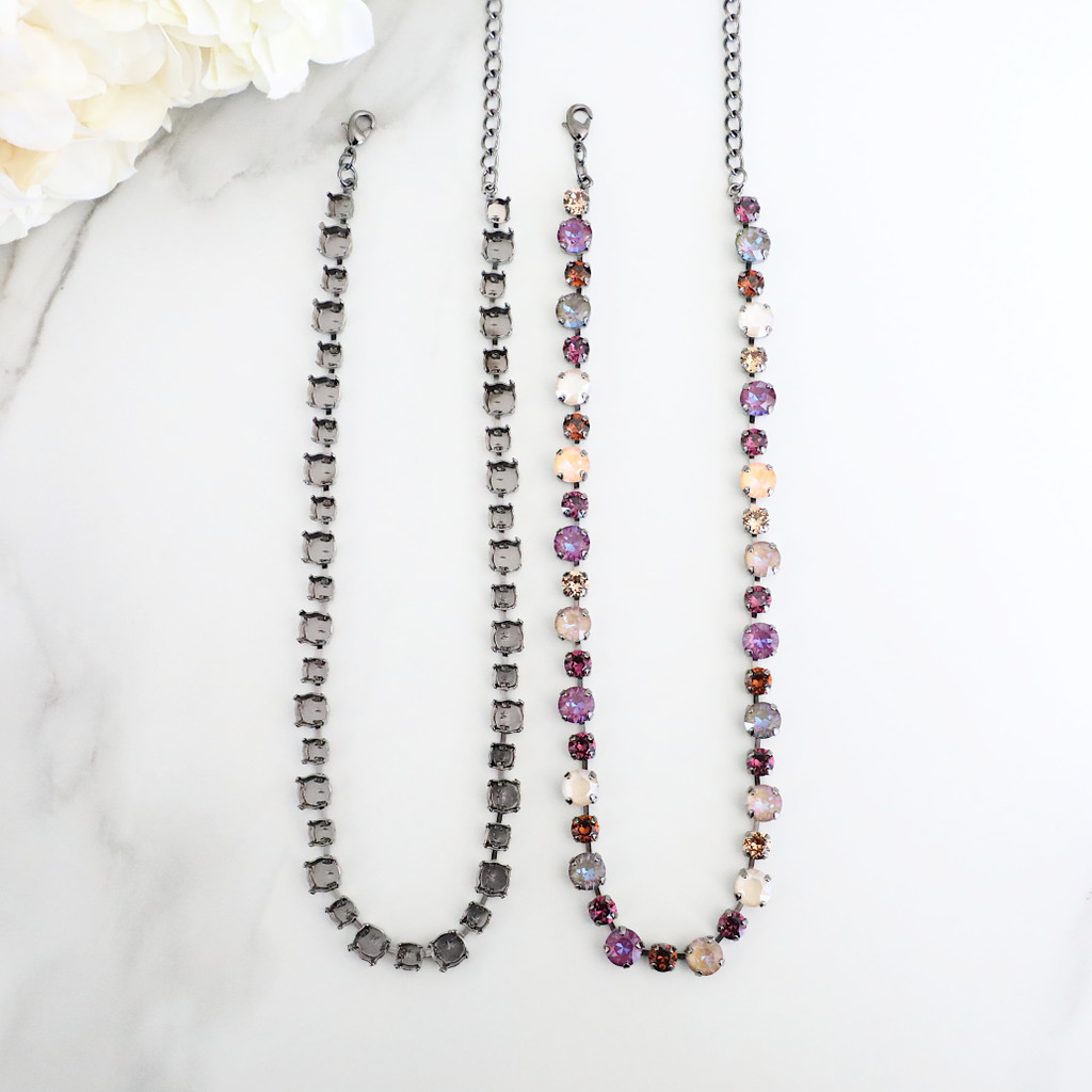 6mm & 8.5mm   Alternating 41 Setting Necklace   One Piece