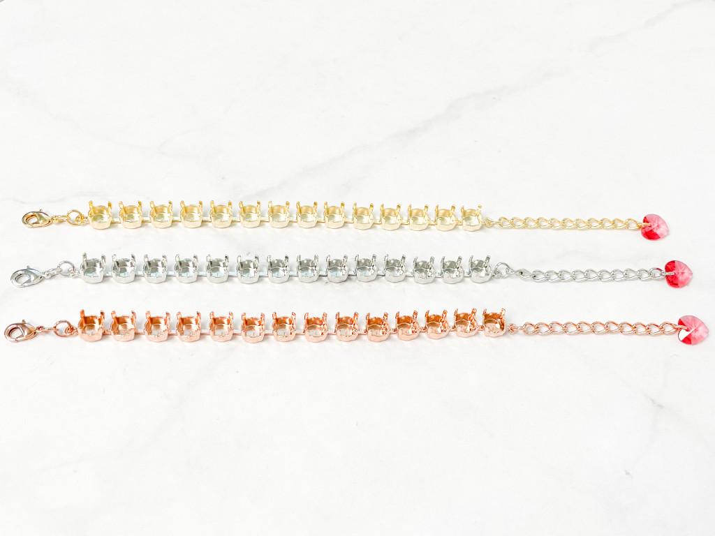 8.5mm   Classic Fourteen Setting Bracelet with Swarovski Heart Charm   One Piece