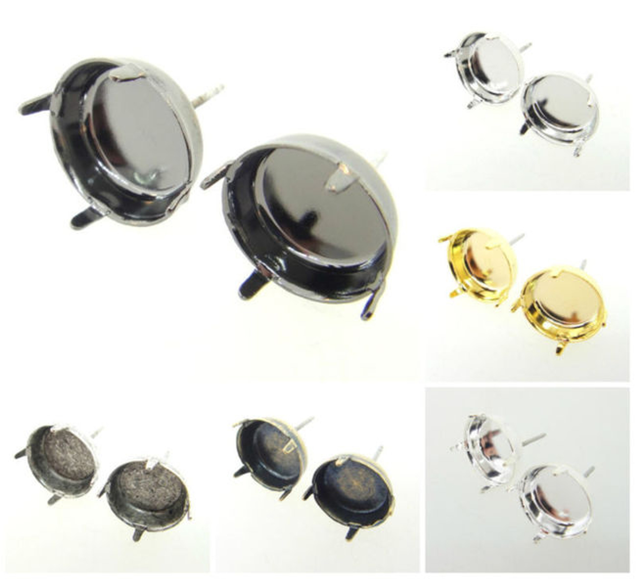 12mm RoundClassic Stud DIY Earring BasesThree Pairs EE 15