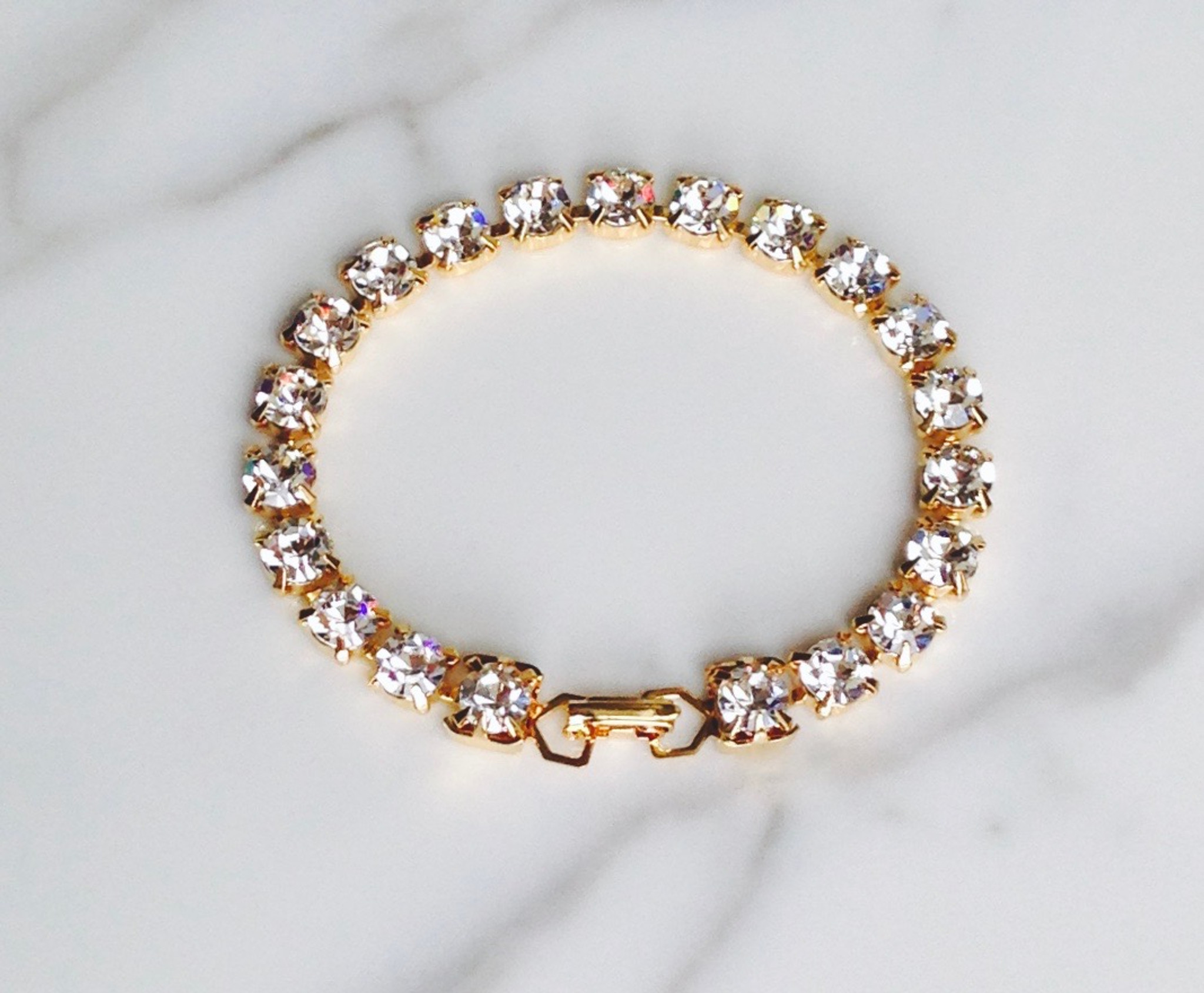 Tennis Bracelet made with Swarovski Crystal Elements in Gold Overlay 69d8f9743