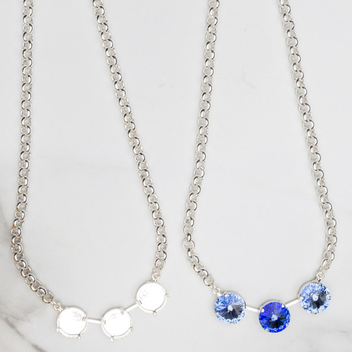 14mm Round | Three Setting Necklace