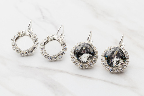 12mm Square Crystal Halo Drop Earrings