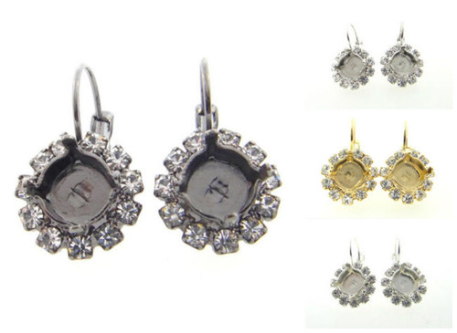 8.5mm Crystal Halo Drop Earring different finishes