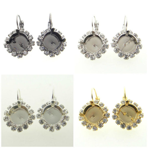 11mm Crystal Halo Drop Earring different finishes