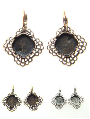 12mm Square Cushion Cut Square Filigree Drop Earring