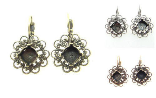 8.5mm Round Filigree Drop Earring different finishes