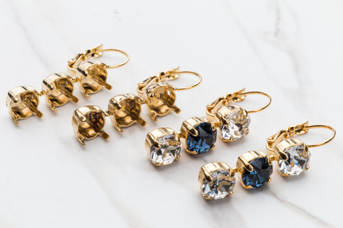 8.5mm Three Setting Drop Earrings