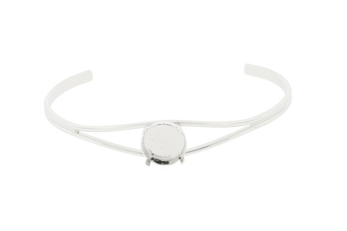 12mm Rivoli Round Empty Cuff Bracelet in Rhodium