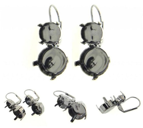 8.5mm & 11mm Asymmetrical Drop Earrings view 2