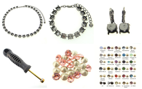 8.5mm (39ss) Empty Cup Chain Starter Kit - Choose Your Finish & Stone Colors
