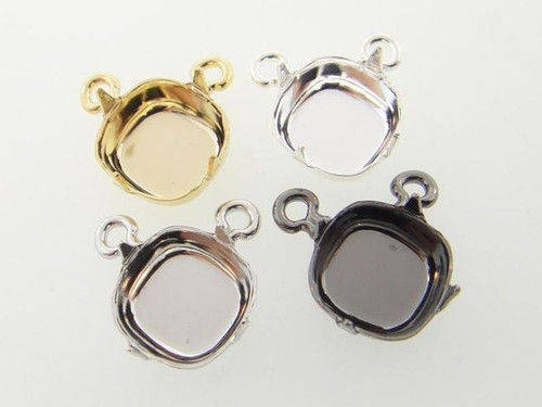 Empty 12mm Square Cushion Cut Single Pendant Center Piece Add Your Own Chain | 3 Pieces
