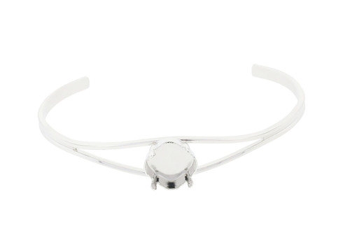 12mm Square Cushion Cut Empty Cuff Bracelets Rhodium