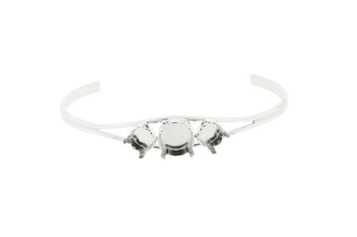 8.5mm and 11mm Empty Cuff Bracelets Rhodium