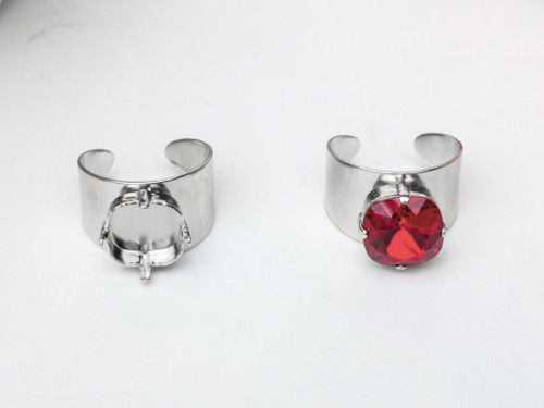 12mm Square | Wide Band Adjustable Ring | Three Pieces