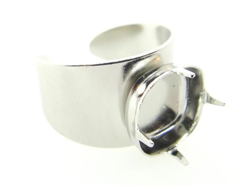 Adjustable Ring Shank Bases With Empty 12mm Square Cushion Cut Setting Rhodium 3 Pieces