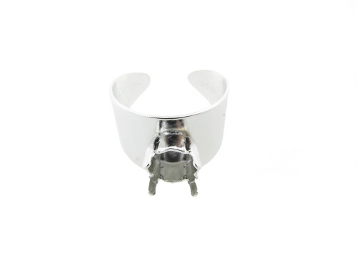 Adjustable Ring Shank Bases with Empty 8.5mm 39ss Setting 5-10 Rhodium