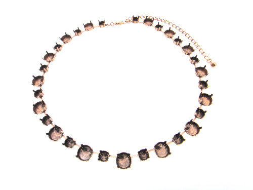 8.5mm & 12mm Round | Alternating 35 Setting Necklace | Three Pieces