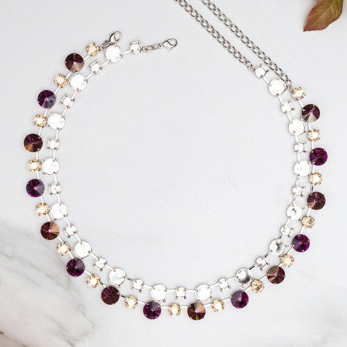 8.5mm & 12mm Round   Alternating 35 Setting Necklace   Three Pieces