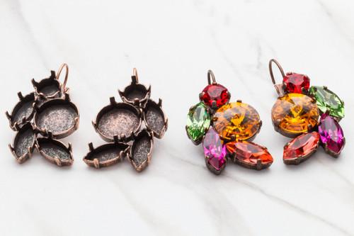 8.5mm, 14mm, 15mm x 7mm Navette Mixed Cluster Drop Earrings