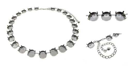14mm Round   Classic 24 Setting Necklace   Three Pieces