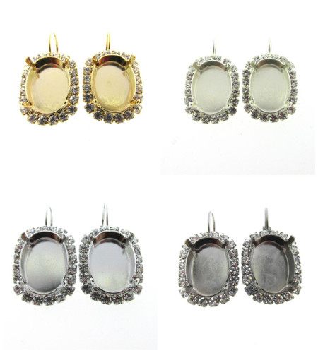 18mm x 13mm Oval Crystal Halo Earring different finishes