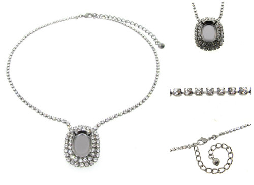 Empty Single Setting Necklace With Crystal Rhinestones 18x13mm Oval