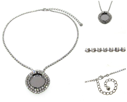 Empty Single Setting Necklace With Crystal Rhinestones 18mm Rivoli Round