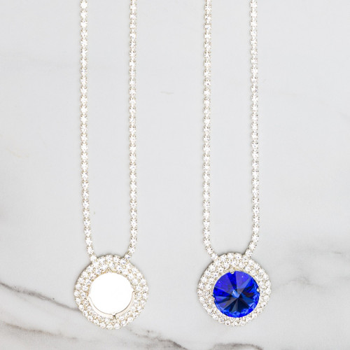 18mm Round | Crystal Halo Pendant Necklace | One Piece