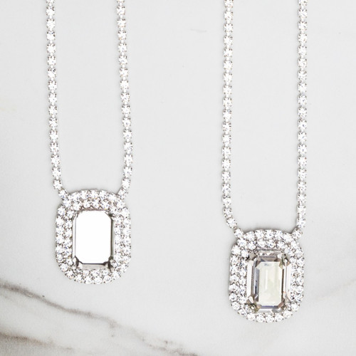 18mm x 13mm Octagon | Crystal Halo Pendant Necklace | One Piece