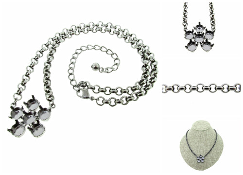 Empty 8.5mm (39ss) One Flower Single Pendant Necklaces  - Smooth Or Textured Rolo Chain