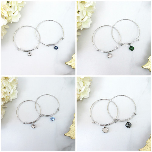 Expandable Bracelets With Empty Setting in Rhodium