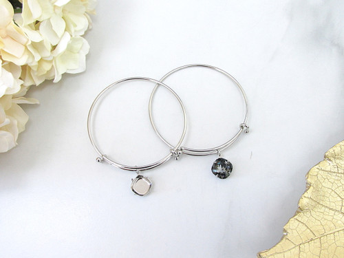 Expandable Bracelets With 12mm square Empty Setting in Rhodium