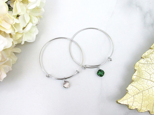 Expandable Bracelets With 10mm Square Empty Setting in Rhodium