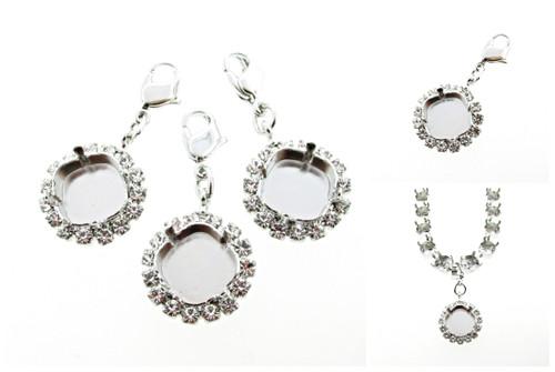12mm Square Cushion Cut Empty Necklace Enhancer With Crystal Rhinestones
