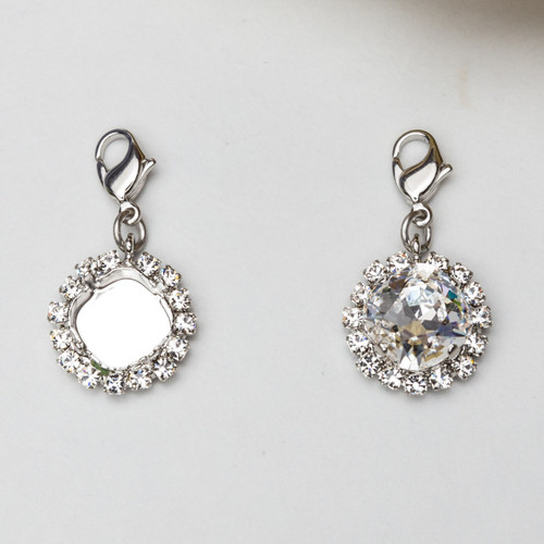 12mm Square | Crystal Halo Necklace Enhancer | Three Pieces