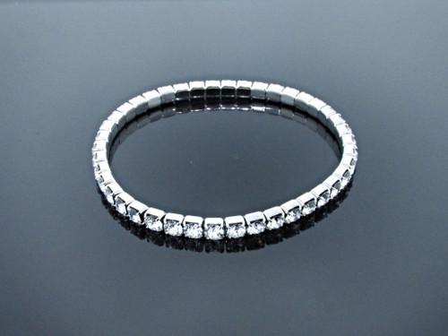 LVR 4mm Stretch Bracelet Made With Swarovski Crystals in Rhodium view 3