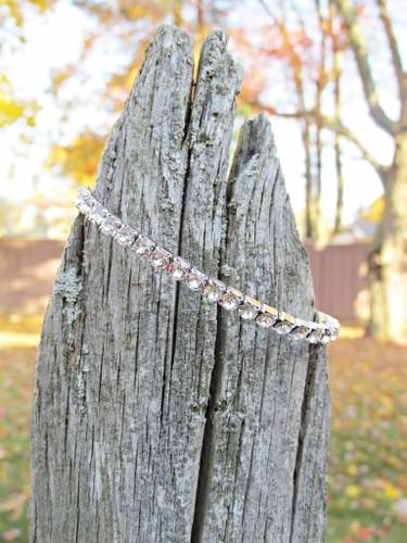 LVR 4mm Stretch Bracelet Made With Swarovski Crystals in Rhodium view 4