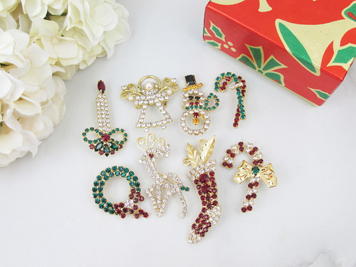 Christmas Pins Made With Swarovski Crystals - Eight Styles To Choose From