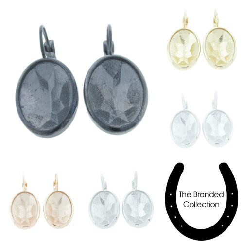 The Branded Collection - 18mm x 13mm Oval Lever Back Casted Earrings