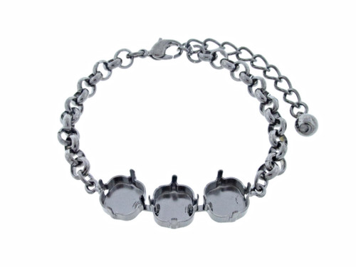 Classic Three Setting Bracelets shown in hematite
