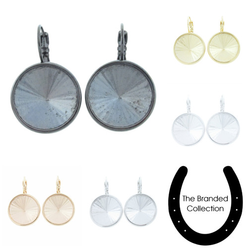 The Branded Collection - 18mm Rivoli Round Lever Back Casted Earrings